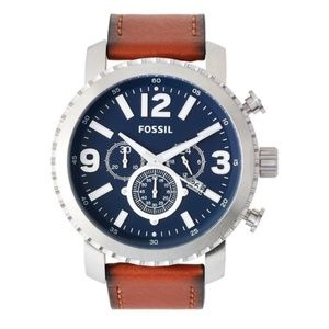 Fossil Mens Elegant Chronograph Leather Band Watch